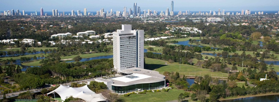 Royal Pines Resort aerial shot with Surfers Paradise skyline in the background
