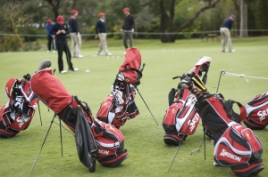 golf club bags at the edge of a practice green