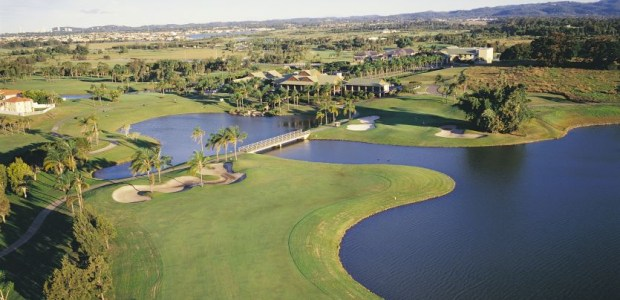 The 18th & Clubhouse from the air at Palm Meadows Golf Course