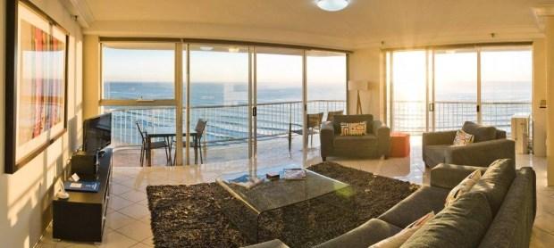 the living area in the Talisman Apartments, Broadbeach